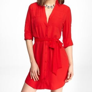 express portofino shirt dress in red small